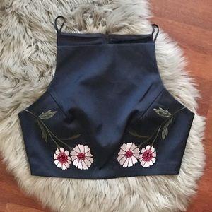 KEEPSAKE Embroidered floral crop top